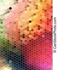 Abstract colorful hexagon with white line pattern