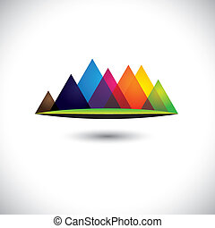 abstract colorful hills & mountain ranges & grassland icon. The vector graphic is made of many pyramid shaped hillocks and green land at the bottom