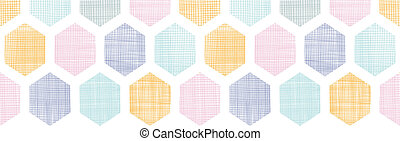 Abstract colorful honeycomb fabric textured horizontal seamless pattern background