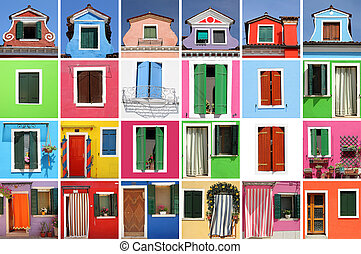 abstract colorful house made of many images with windows and doo