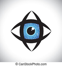 abstract colorful human eye icon with electronic circuit in iris. The vector graphic represents concept of futuristic, robot like, modern eye with blue iris