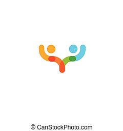 Abstract colorful human vector logo template. Holding hands icon.