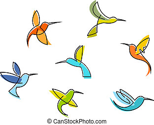 Abstract colorful hummingbirds set isolated on white...