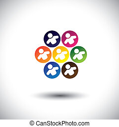 Abstract colorful icons of children or kids playing games in circle. This vector graphic also represents concept of children in school, team of employees, office colleagues & staff, etc