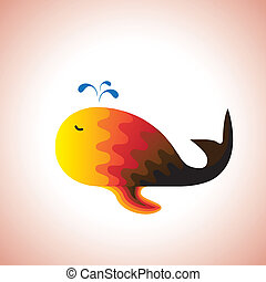Abstract colorful illustration of a whale happily swimming and spraying water. The graphic is made of wavy patterns on the back of whale in shades of red and orange color.