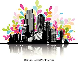 Abstract colorful illustration with cityscape.