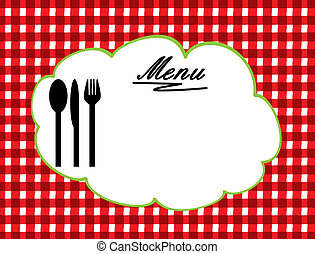 Abstract colorful illustration with tablecloth, fork, spoon and knife. Menu concept, vector illustration