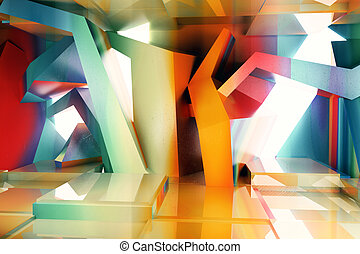 Abstract colorful interior