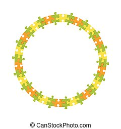 abstract colorful jigsaw puzzle blank circle frame wheel business vector background