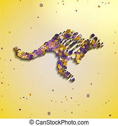 Abstract colorful kangaroo