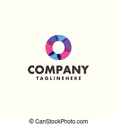abstract colorful letter O logo design for business company with modern neon color
