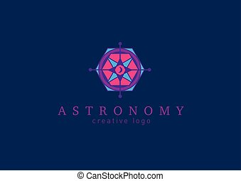 abstract, colorful line logo on astronomy