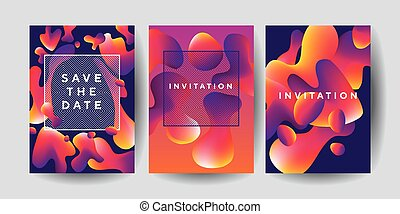 Abstract colorful liquid drops set for posters.