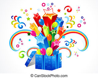 abstract colorful magic box explode vector illustration