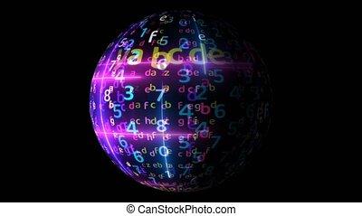 Abstract colorful matrix big data visualization technology ...
