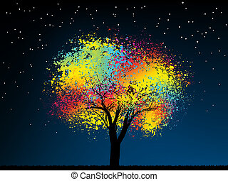 Abstract colorful midnight tree. With copy space .EPS 8 vector file included