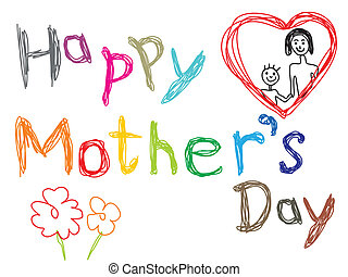 abstract colorful sketch of mothers day vector illustration
