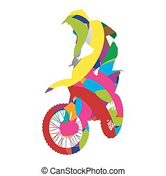 Abstract colorful motocross rider