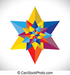 abstract colorful multiple stars arranged together- vector graphic. This illustration consists of many stars united as one & made of paper(origami) in colors like red, orange, yellow, pink, blue, green