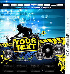 Abstract Colorful Music Event Background with Disk Jockey...