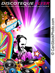 Music Event Background with Dj Shape and Rainbow Colours -...