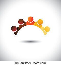 Abstract colorful office staff or employees sign(icon)- vector graphic. This illustration can represent group discussion, employee meetings, interaction in schools among children & kids