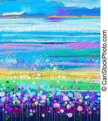 Abstract colorful oil painting red, pink cosmos flower, daisy, wildflower in field. Размытые полевые цветы на лугу с боке и мягким зеленым, голубым небом. Весенний, летний сезон природы фон.