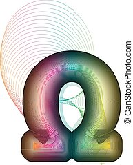 Abstract colorful omega sign
