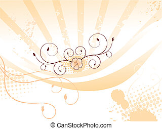 abstract colorful orange floral