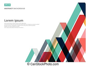Abstract colorful overlap triangle pattern on white background with copy space, Vector illustration