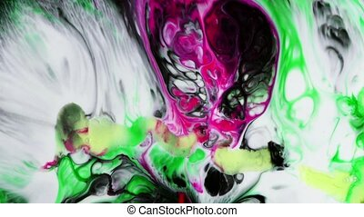 Abstract Colorful Paint Ink Liquid Explode Diffusion Psychedelic Blast Movement