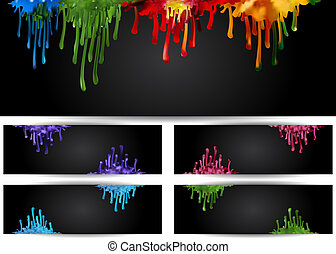 Illustration of banners with abstract colorful paint runs on black background