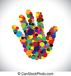 abstract colorful paint splash on hand icon(sign) or symbol- vector graphic. This illustration consists of child's or kid's hand with splash of spilled colors ranging from orange to green & blue