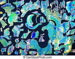 Abstract colorful painting of the Vancouver city