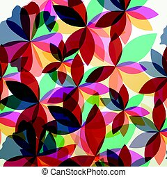 Abstract colorful pattern with florals in shape of flowers
