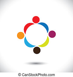 Abstract colorful people icons showing close relationship....