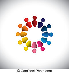 Abstract colorful people or children icons as circle- vector graphic. This graphic can also represents concept of kids playing together, friendship, team building, group activity, play-school, etc