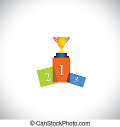 abstract colorful podium icon with cup - success vector...