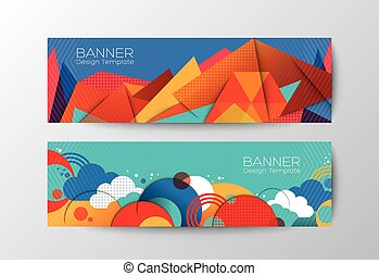 Abstract colorful polygon banner design template