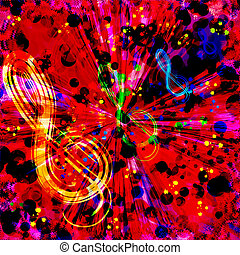 Abstract colorful radial background with treble clef,...
