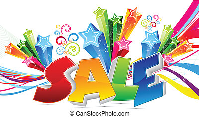abstract colorful sale text vector