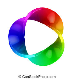 abstract three dimensional colorful shape isolated over white background