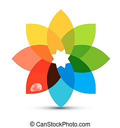 Abstract Colorful Shape. Flower Symbol with Rain Drop for Logo Designs. Vector.
