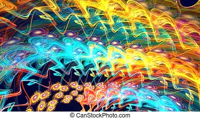 Abstract colorful shapes spinning like a carousel. High detailed.