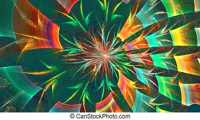 Abstract colorful shapes spinning like a carousel or in a kaleidoscope. High detailed.