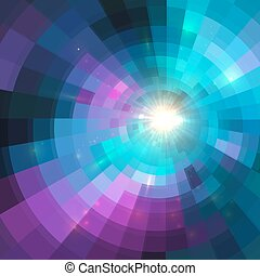 Abstract colorful shining circle tunnel background - ...