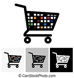 abstract colorful shopping cart icon or symbol - vector graphic.