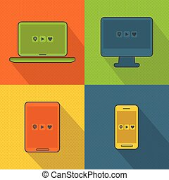 Abstract colorful smart devices set
