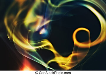Abstract colorful smoke on a black background