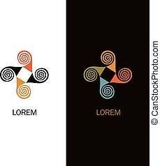 Abstract colorful spiral logo design. Windmill icon concept